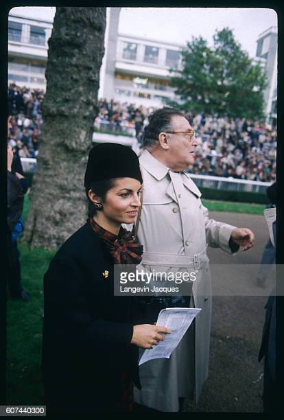 French journalists and presenters Darie Boutboul and Leon Zitrone at Longchamp horseracing Arc de Triomphe Grand Prix won by french jockey Yves...