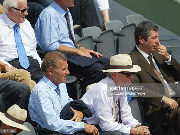 French journalists Jacques Chancel Patrick Poivre d'Arvor Philippe Labro and mayor of LevalloisPerret Patrick Balkany attend a Roland Garros French...