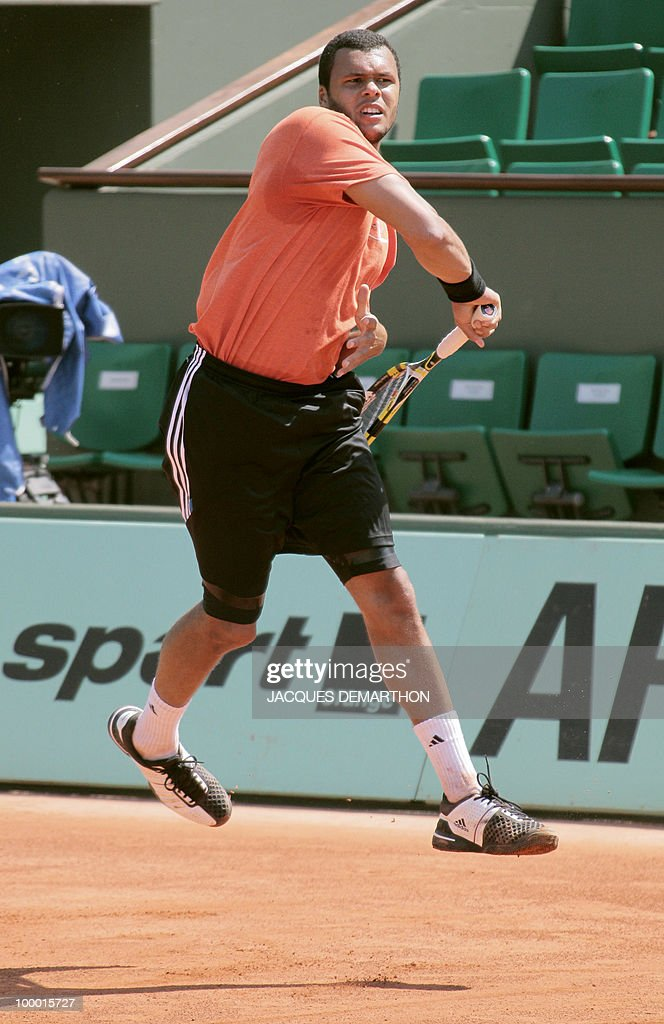 French Jo-Wilfrid Tsonga trains at Roland Garros Philippe Chatrier's center court on May 20, 2010 in Paris, three days ahead of the French Open, the second Grand Slam tournament of the season.