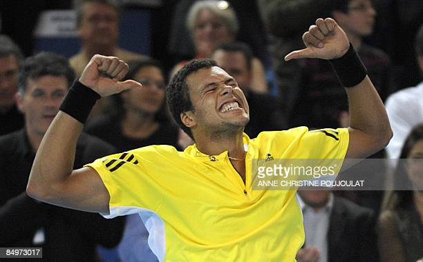 French Jo-Wilfried Tsonga celebrates after winning against French Michael LLodra, 7-5, 7-6 on February 22 during their final match at the ATP Open 13...