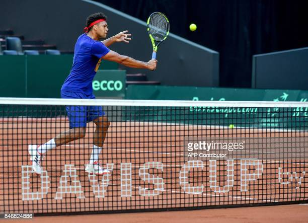 TOPSHOT French JoWilfried Tsonga takes part in a training session of the French team ahead of the Davis Cup World Group semifinal between France and...