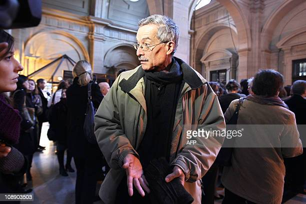 French judge Renaud Van Ruymbeke speaks with the press as he arrives on February 8, 2011 for a meeting with magistrates at the Paris Hall of Justice,...