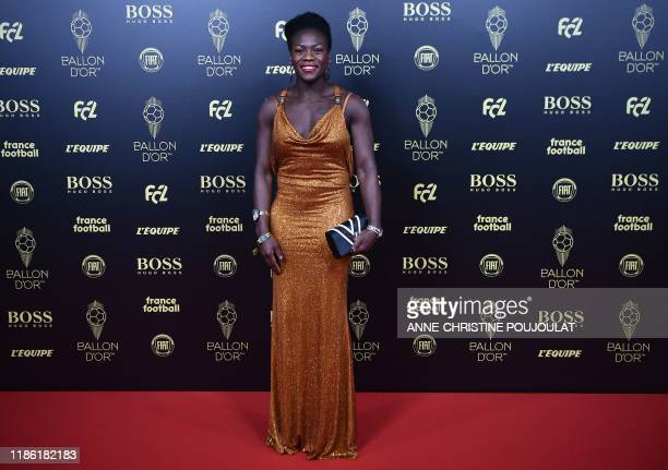 French judoka Clarisse Agbegnenou arrives to attend the Ballon d'Or France Football 2019 ceremony at the Chatelet Theatre in Paris on December 2 2019