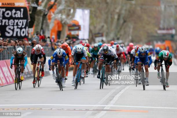 French Julian Alaphilippe of Deceuninck - Quick-Step wins stage 6 of the Tirreno-Adriatico cycling race, 195 km from Matelica to Jesi, Italy, Monday...
