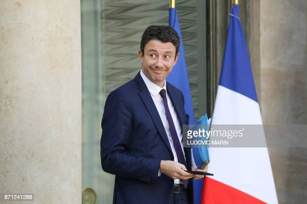 French Junior Economy Minister Benjamin Griveaux leaves the Elysee palace following the weekly Cabinet meeting on November 7 2017 in Paris / AFP...