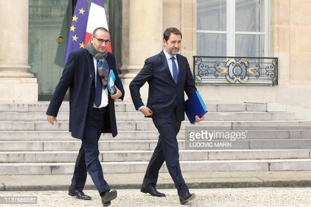French Junior Interior Minister Laurent Nunez and French Interior Minister Christophe Castaner leave the cabinet meeting dominated this week by the...