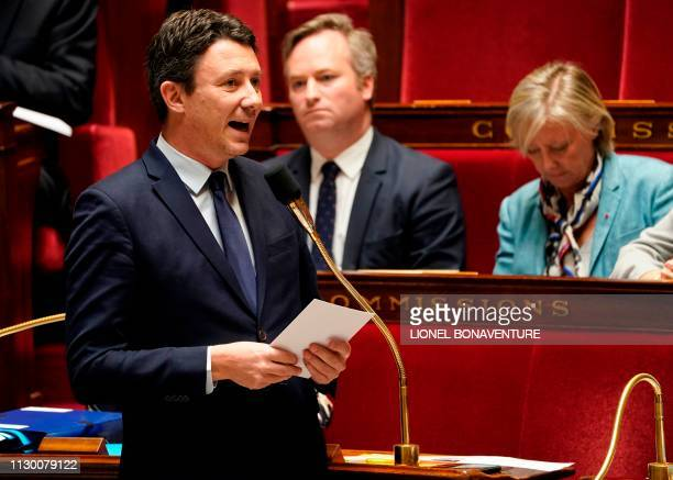 French Junior Minister and Government's spokesperson Benjamin Griveaux speaks during a session of questions to the government at the National...