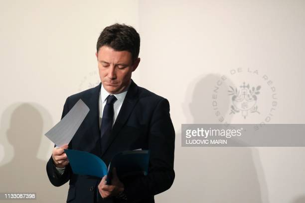 French Junior Minister and Government's spokesperson Benjamin Griveaux attends a press conference following the weekly cabinet meeting at the Elysee...