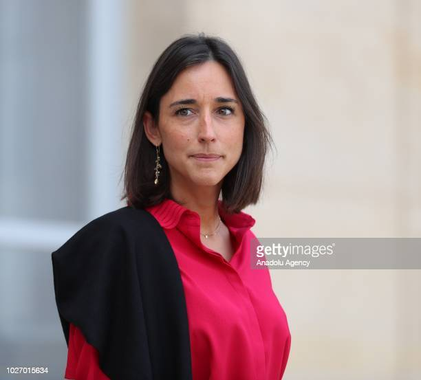 French Junior Minister attached to the Minister of Ecological and Inclusive Transition Brune Poirson leaves after a weekly cabinet meeting at the...