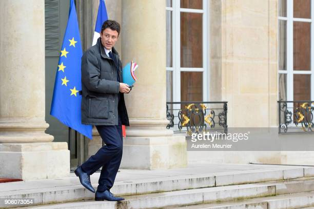 French junior Minister Benjamin Griveaux leaves the Elysee Palace after the weekly cabinet meeting with French President Emmanuel Macron on January...
