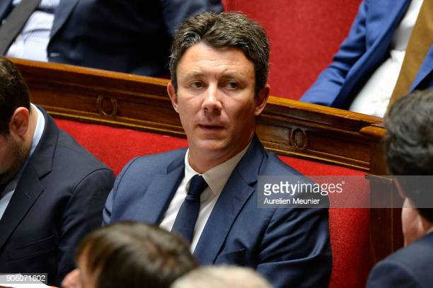 French junior Minister Benjamin Griveaux reacts as Ministers answer deputies questions during the weekly session of questions to the government at...