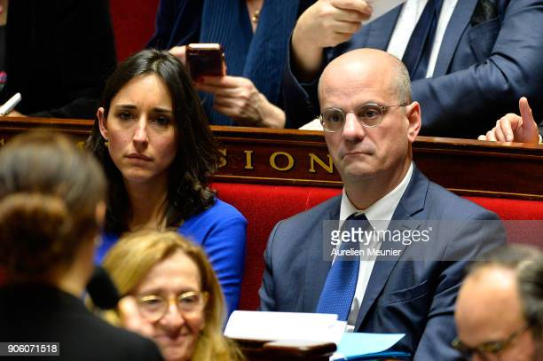 French junior minister Brune Poirson and French Minister of National Education JeanMichel Blanquer react as Ministers answer deputies questions...
