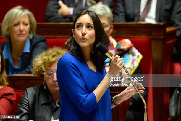 French junior minister Brune Poirson answers deputies questions during the weekly session of questions to the government at Assemblee Nationale on...