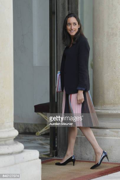 French junior minister Brune Poirson arrives at Elysee Palace for a cabinet meeting on August 28 2017 in Paris France