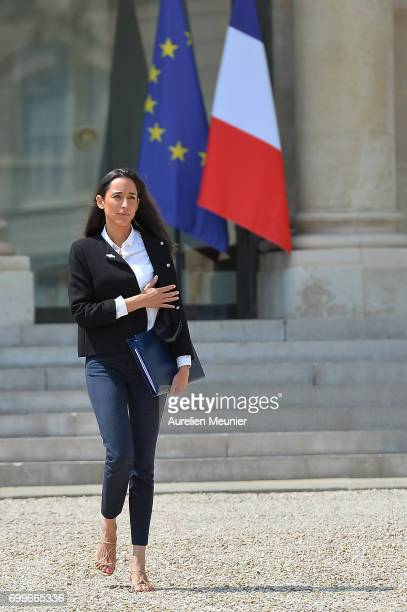 French junior minister Brune Poirson leaves the Elysee Palace after the weekly cabinet meeting with French President Emmanuel Macron on June 22 2017...