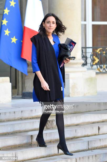 French Junior Minister Brune Poirson leaves the Elysee Palace after the weekly cabinet meeting with French President Emmanuel Macron on January 17...