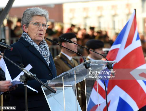 French Junior Minister for Defence Genevieve Darrieussecq delivers a speech during a commemoration ceremony for the centenary of the Battle of...