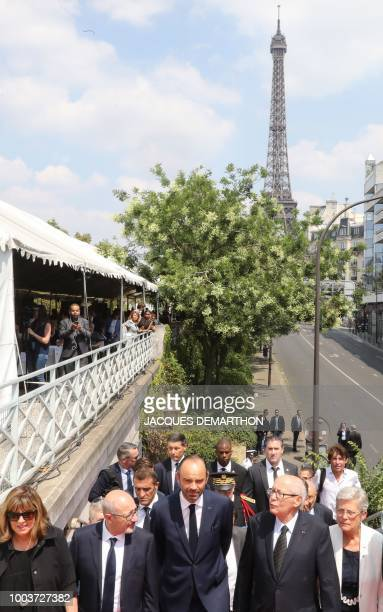 French Junior Minister for Defence Genevieve Darrieussecq French lawyer and activist Serge Klarsfeld and French Prime Minister Edouard Philippe climb...