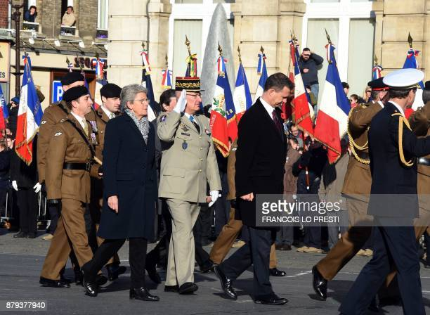 French Junior Minister for Defence Genevieve Darrieussecq French General Thierry Coqueblin and Britain's Minister of State for the Armed Forces Mark...