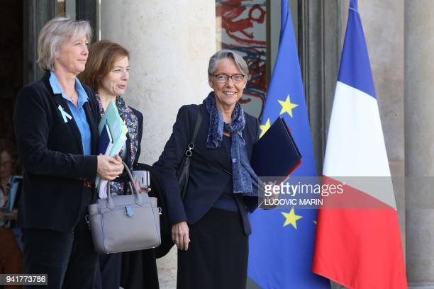 French Junior Minister for Disability Issues Sophie Cluzel French Defence Minister Florence Parly French Transports Minister Elisabeth Borne leaves...