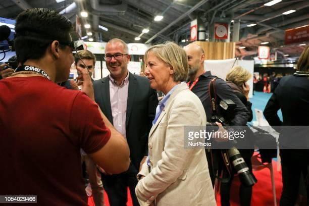 French Junior Minister for Disability Issues Sophie Cluzel visits the 2018 Paris Games Week exhibition at the Porte de Versailles exhibition centre...