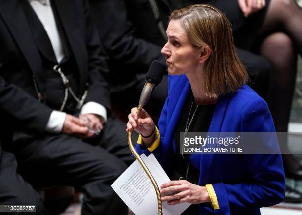 French Junior Minister for Economy and Finance Agnes PannierRunacher speaks during a session of questions to the government at the National Assembly...