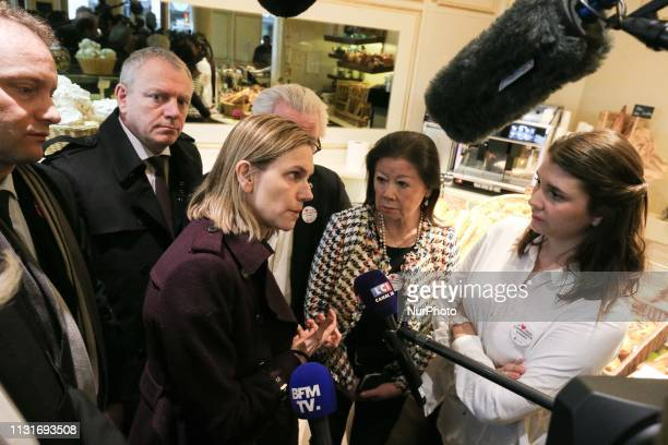 French Junior Minister for Economy and Finance Agnes PannierRunacher accompanied by the Mayor of the 8th arrondissement of Paris Jeanne d'Hauteserre...