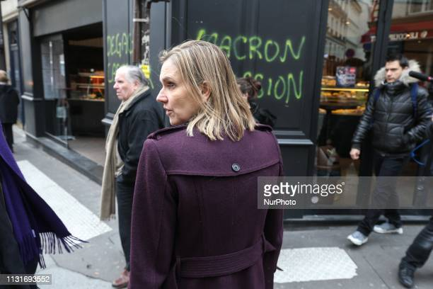 French Junior Minister for Economy and Finance Agnes PannierRunacher visits the stores near the Champs Elysées avenue to meet merchants whom...
