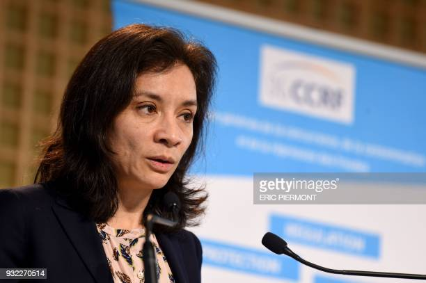 French Junior Minister for Economy Delphine GenyStephann talks during the presentation of the General Directorate for Competition Policy Consumer...