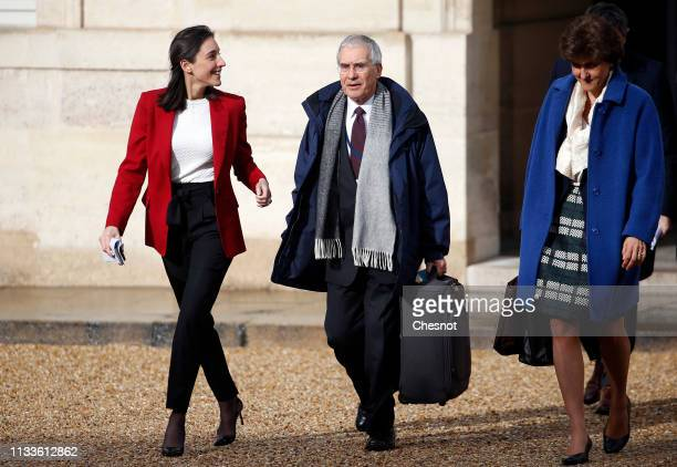 French Junior Minister for Environment Brune Poirson British economist Nicholas Stern and deputy governor of the Bank of France Sylvie Goulard arrive...