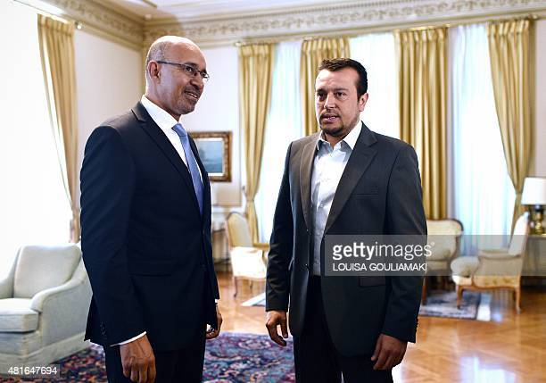 French Junior Minister for European Affairs Harlem Desir meets with Greek Minister of state Nikos Pappas at the Prime minister's office in Athens on...