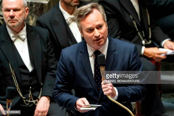 French Junior Minister for Foreign Affairs JeanBaptiste Lemoyne speaks during a session of questions to the government at the National Assembly in...