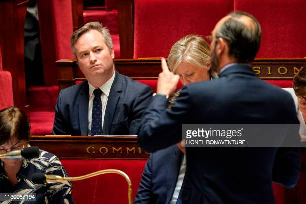 French Junior Minister for Foreign Affairs JeanBaptiste Lemoyne looks on as French Prime Minister Edouard Philippe speaks during a session of...