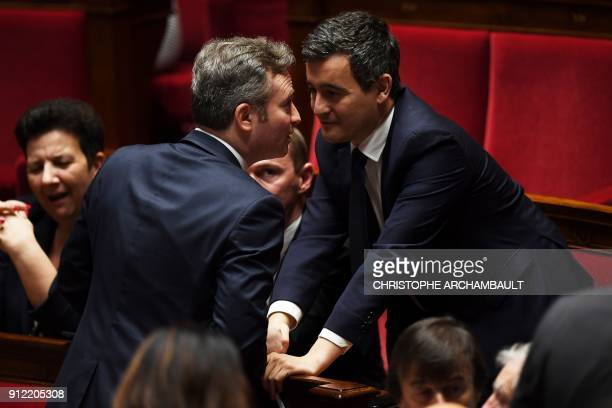 French Junior Minister for Foreign Affairs JeanBaptiste Lemoyne speaks with French Minister of Public Action and Accounts Gerald Darmanin during a...
