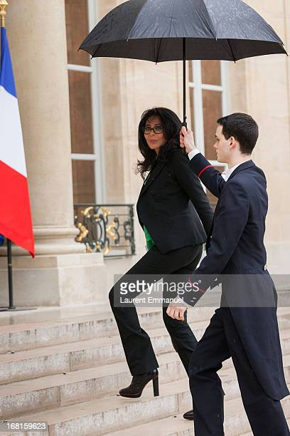 French Junior Minister for French Living Abroad and Francophony Yamina Benguigui arrives for a work meeting of government ministers presided by...