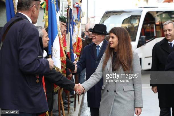 French Junior Minister for Gender Equality Marlene Schiappa and former French minister JeanPierre Chevenement arrive to the ceremony in tribute to...