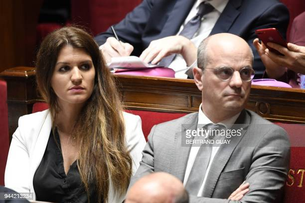French Junior Minister for Gender Equality Marlene Schiappa and French Education Minister JeanMichel Blanquer attend a session of questions to the...