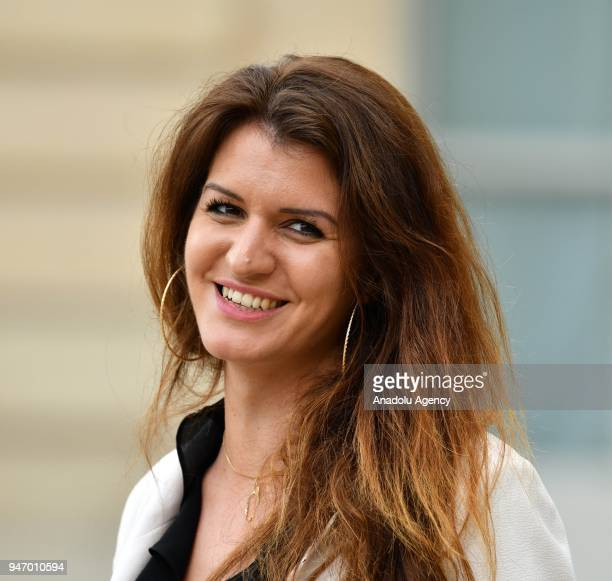 French Junior Minister for Gender Equality Marlene Schiappa leaves after a meeting at the Elysee Palace in Paris France on April 16 2018