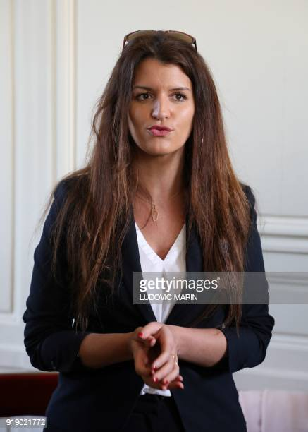 French Junior Minister for Gender Equality Marlene Schiappa speaks during the reintroduction of the Le Mans chicken in Versailles near Paris on...