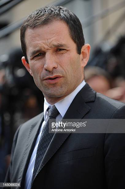 French Junior Minister for Social and Solidarity Economy Benoit Hamon speaks the weekly cabinet meeting at Elysee Palace on May 23 2012 in Paris...