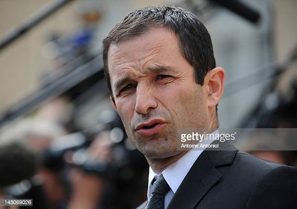 French Junior Minister for Social and Solidarity Economy Benoit Hamon speaks at the weekly cabinet meeting at Elysee Palace on May 23 2012 in Paris...