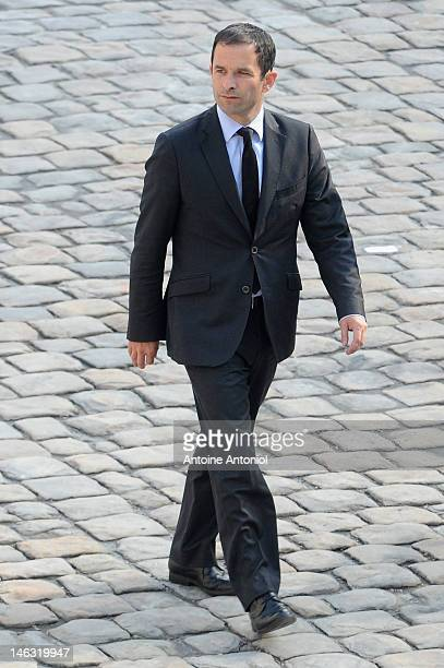 French Junior Minister for Social and Solidarity Economy Benoit Hamon attends a ceremony honoring four French soldiers who were killed in Afghanistan...