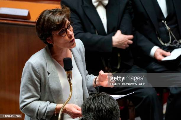 French Junior Minister for Solidarity and Health Christelle Dubos speaks during a session of questions to the government at the National Assembly in...