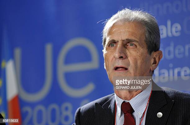 French Junior Minister for Spatial Planning Hubert Falco holds a press conference in Marseille southeastern France on November 25 2008 at an European...