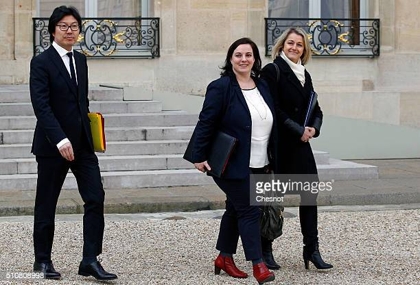 French Junior minister for State reform and Simplification JeanVincent Place French housing minister Emmanuelle Cosse and French Junior Minister for...