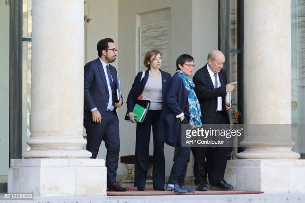 French Junior Minister for the Digital Sector Mounir Mahjoubi French Defence Minister Florence Parly French Overseas Minister Annick Girardin and...
