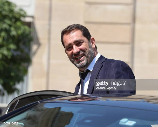 French Junior Minister for the Relations with Parliament Christophe Castaner leaves after a weekly cabinet meeting at the Elysee Palace in Paris,...
