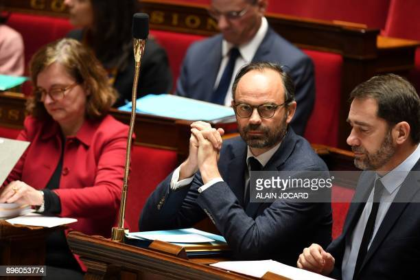 French Junior Minister for the Relations with Parliament Christophe Castaner French Prime Minister Edouard Philippe and French Minister attached to...