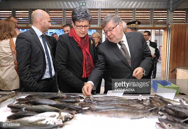 French Junior Minister for Transports Maritime Economy and Fisheries Alain Vidalies and PyreneesAtlantique PS Member of Parlement Sylviane Alaux...