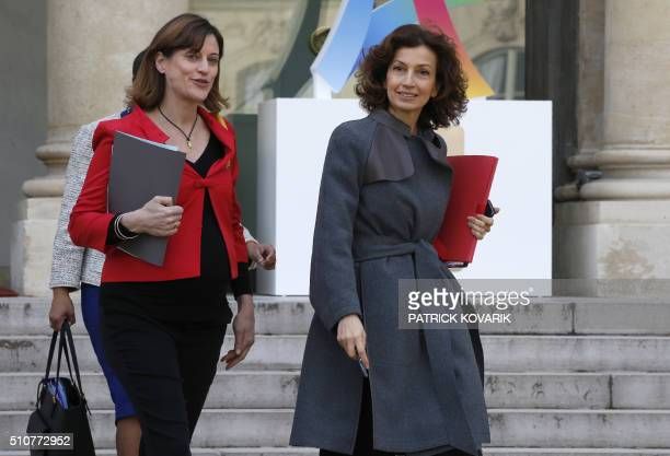 French junior minister for victims aid Juliette Meadel and French Culture minister Audrey Azoulay leave the Elysee presidential palace after the...